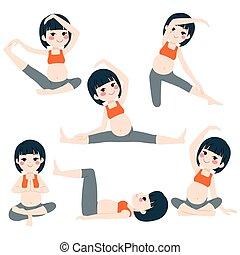 beállít, terhes, asian woman, jóga