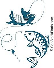 beakad, halász, fish