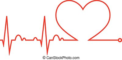 beat., orvosi, szív, szív, icon., cardiogram., cycle.