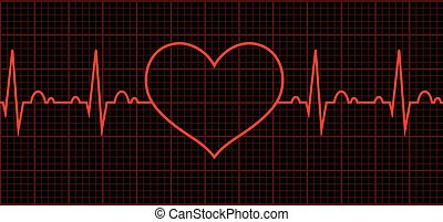 beat., szív, szív, biciklizik, cardiogram.
