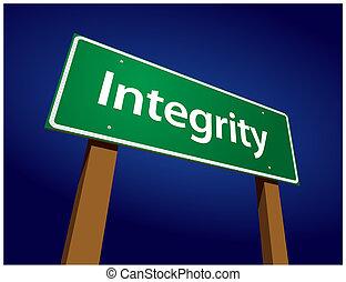 becsületesség, zöld, út, ábra, aláír
