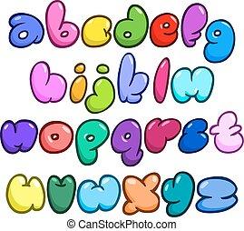 becsomagol, abc, komikus, buborék, alacsonyabb
