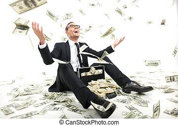 becsomagol, tele, ülés, dobás, pénz, rich!, fiatal, formalwear, feláll, pénznem, időz, dolgozat, üzletember, boldog