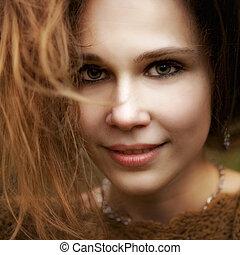 becsuk, csinos, nő, érzéki, portré