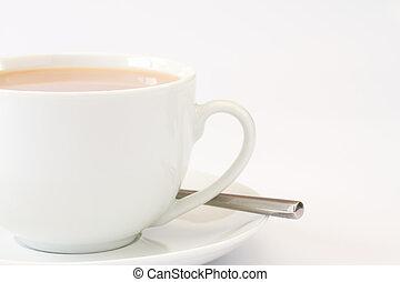 becsuk, tea, kép, feláll, csésze