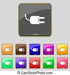 bedugaszol, buttons., állhatatos, villamos energia, energia, jelkép., aláír, vektor, icon., arcszín