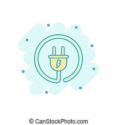 bedugaszol, drót, villamos energia, concept., hatás, ábra, aláír, ügy, loccsanás, vektor, pictogram., kábel, komikus, style., karikatúra, ikon