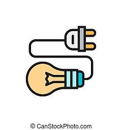bedugaszol, elektromos, fény, összekapcsol, lapos megtölt, gumó, icon., szín