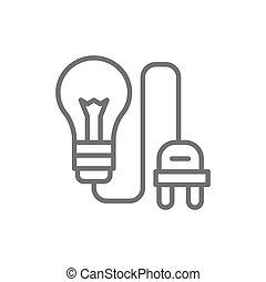 bedugaszol, fény, elektromos, összekapcsol, gumó, egyenes, icon.