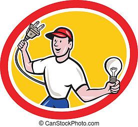 bedugaszol, villanyszerelő, elektromos, birtok, gumó, karikatúra