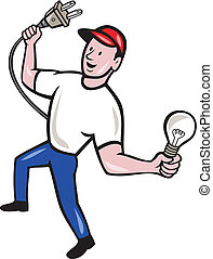 bedugaszol, villanyszerelő, elektromos, gumó, befolyás, karikatúra