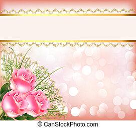 befűz, ünnepies, csokor, szalag, háttér, agancsrózsák