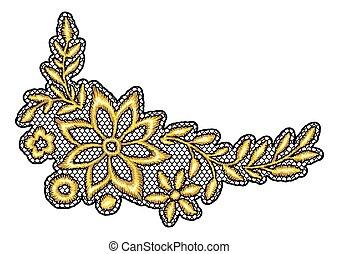 befűz, dekoratív elem, flowers., arany
