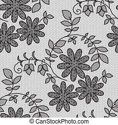 befűz, motívum, black háttér, white virág