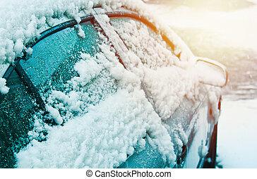 befedett, autó, lejtő, tél, hó