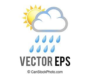 befedett, esőcseppek, eső, fél, vektor, felhő, nap, sárga, kék, ikon