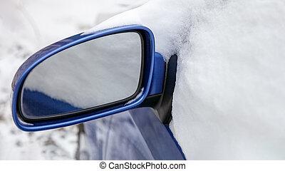 befedett, kilátás, hó, hátsó tükör