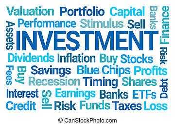 befektetés, szó, felhő