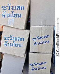 befest papír, szürke, kék, szöveg ökölvívás, kazal, törékeny, throw., figyelmeztetés, nem, thai nyelv