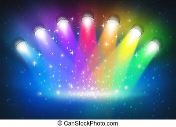 befest, szivárvány, reflektorfény