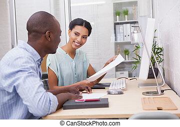 befog, íróasztal, ügy, munka, boldog
