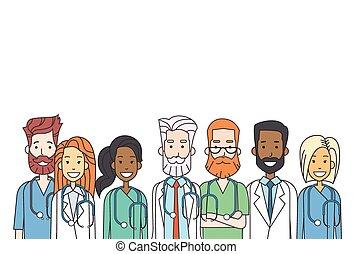 befog, híg, csoport munka, egyenes, orvosok, középső