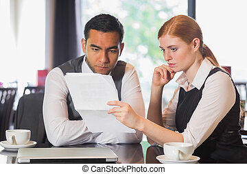 befog, kávéház, ügy, concentrating, munka