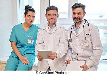 befog, tapasztalt, orvosi támasz