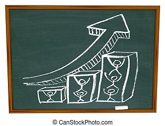 befog, tol, nyíl, chalkboard