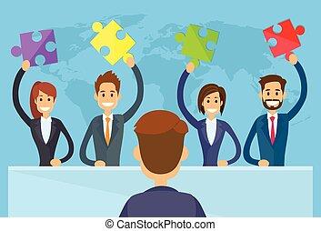 befolyás, emberek ügy, fejtörő munkadarab, befog, oldás, fogalom