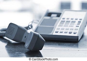 begörbít, el, telefon, íróasztal