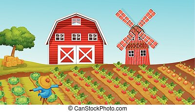 begyűjt, tanya, farmland