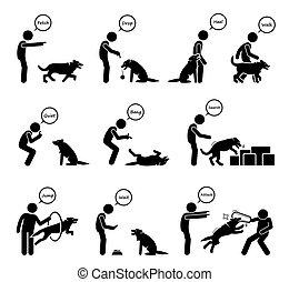 behavioral, ikonok, képzés, haladó, set., kutya, vezényel