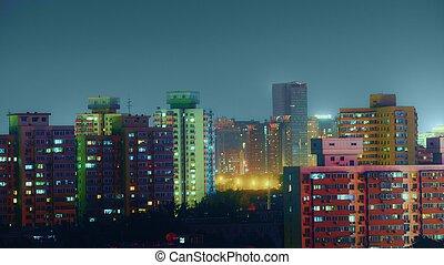 beijing, lövés, antenna, felül, éjszaka
