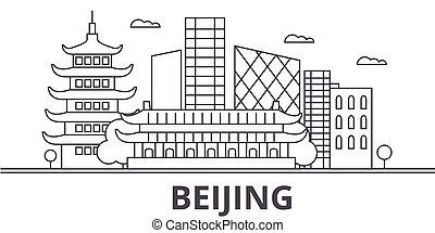 beijing, wtih, illustration., lineáris, város, evez, editable, icons., iránypont, híres, láthatár, vektor, tervezés, nevezetességek, cityscape, egyenes, parkosít építészet