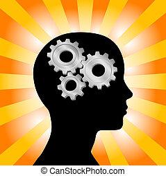 bekapcsol, woman gondolkodó, fej, narancs, arcél, sárga, küllők