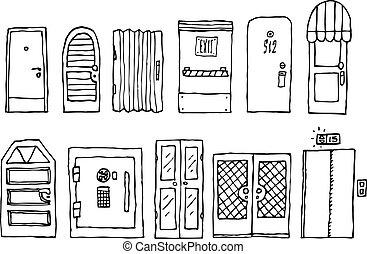 belépés, állhatatos, ajtók