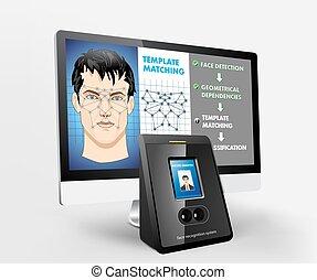 belépés, biometric, -, elismerés, arc