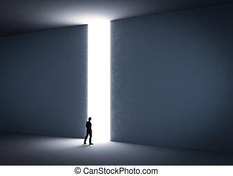belépés, kereszt, light., körülbelül, üzletember