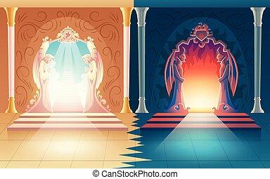 belépés, vektor, ég, az élet későbbi szakasza, pokol, gates.