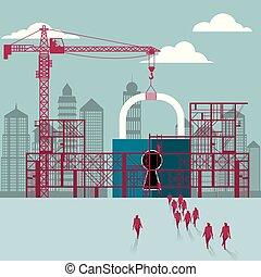 belakatol, businessmen, construction., házhely., épület, alatt, csoport, sétált