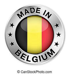 belgium, elkészített, jelvény, ezüst