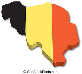 belgium, térkép, 3, lobogó