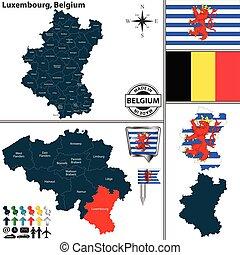 belgium, térkép, luxemburg