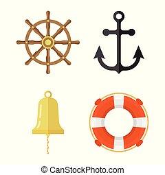 bell., gördít, ikonok, set., mentőbólya, kormányzó, tengeri, hajó, vasmacska