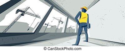 belső, ábra, kinyúl, város, szerkesztés, őrzés, ablak, épület, konstruál, eljárás, industry., befejezetlen, vektor, felkelés, felhőkarcoló, előrehalad, őt épület, felett