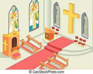 belső, ábra, templom