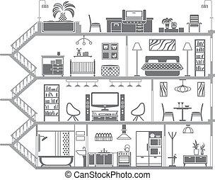 belső, épület, vektor, ábra, silhouette.