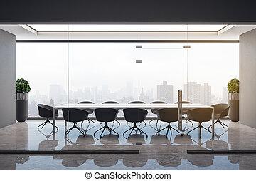 belső, beton, ülésterem, kitakarít