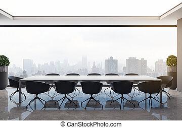 belső, beton, fényes, ülésterem